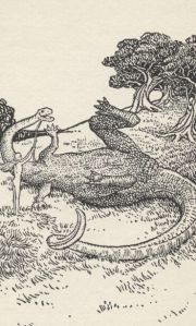 Eve playing with dinosaur - From Eve's Diary by Mark Twain