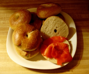 That's a bit of lox on the one bagel.