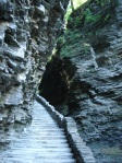 Steps on pathway along chasm