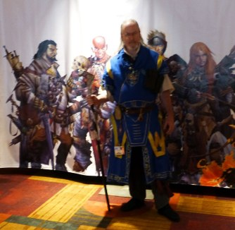 a slightly blurry photo against the Pathfinder character mural