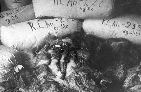 Bags of women's hair at the concentration camp at Auschwitz - Photo Credit, Polish National Archives